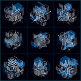 3d abstract vector isometric backgrounds. Layouts of cubes, hexa. Gons, squares, rectangles and different abstract elements. Vector collection Stock Photography