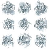 3d abstract vector isometric backgrounds. Layouts of cubes, hexa. Gons, squares, rectangles and different abstract elements. Vector collection Royalty Free Stock Image