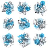 3d abstract vector isometric backgrounds. Layouts of cubes, hexa. Gons, squares, rectangles and different abstract elements. Vector collection Royalty Free Stock Photo