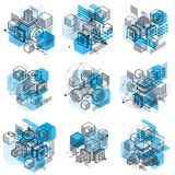 3d abstract vector isometric backgrounds. Layouts of cubes, hexa. Gons, squares, rectangles and different abstract elements. Vector collection Stock Photos