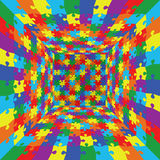 3d abstract vector rainbow color puzzle jigsaw room background Stock Photo