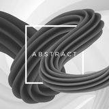 3D abstract wavy object isolated on geometric background with white frame. Vector illustration.  Royalty Free Stock Photo