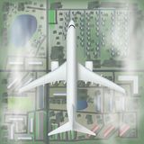 3D Abstract White Airplane Fly Over The City. EPS10 Vector royalty free illustration