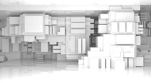 3d abstract white empty high-tech interior. Abstract white empty high-tech interior background with cubes constructions, 3d illustration Royalty Free Stock Images