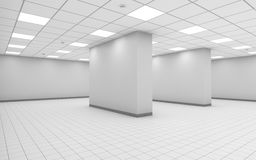 3d abstract white empty office room interior. Abstract white empty office room interior with columns, square ceiling lights and floor tiling, 3d illustration royalty free illustration