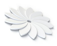 3D Abstract White Flower on White Background Royalty Free Stock Photo