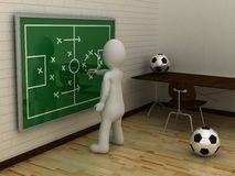 3D abstract white man make tactic on football tactic board Stock Photos