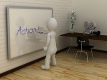 3D abstract white man writing Action on whiteboard. Stock Images