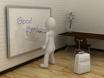 3D abstract white man writing good bye on whiteboard Stock Photo