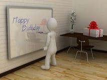 3D abstract white man writing happy birthday on whiteboard Stock Photos