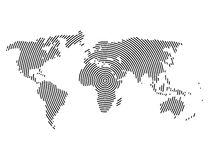 3d abstract world map planet, lines, global radial halftone concept Royalty Free Stock Image