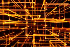 3D Abstract Yellow Glowing Lines as Background Royalty Free Stock Photos