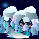 3D Abstracte boslandschap van de de winternacht met dorp, bergen, maan en sterrige hemel Vectortekening in beeldverhaalstijl stock illustratie