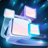 3d abstracte fluorescente schermen van monitors op zwarte nachthemel Stock Afbeelding