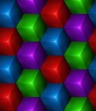 3d Abstracte naadloze achtergrond met gekleurde kubussen Stock Foto's