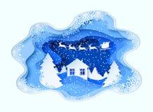 3d abstracte pastelkleurdocument sneed illustratie van de winterlandschap met pijnbomen, huis, bergen en de Kerstman stock illustratie