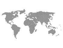 3d abstracte planeet van de wereldkaart, lijnen, globaal radiaal halftone concept Royalty-vrije Stock Afbeelding