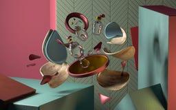 3d Abstracte samenstelling met geometrische vormen stock illustratie