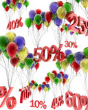 3d abstraction of discounts on balloons. 3d abstraction of discounts for multi-colored balloons Stock Image