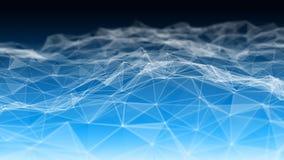 3d abstracto que rinde puntos y líneas futuristas estructura digital geométrica de la conexión del ordenador Plexo con las partíc libre illustration