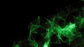 3d abstracto que rinde puntos y líneas futuristas estructura digital geométrica de la conexión del ordenador Plexo con las partíc Foto de archivo