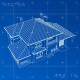 3D abstractos rinden de wireframe del edificio - Vector el ejemplo Fotografía de archivo libre de regalías