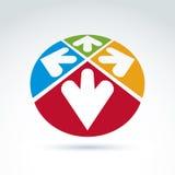 3d abstraem o emblema com as setas multidirectional na forma de Imagem de Stock
