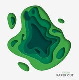 3D abstraem o fundo com formas do corte do papel verde Vector a disposição de projeto para apresentações do negócio, insetos, car Fotos de Stock