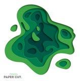 3D abstraem o fundo com formas do corte do papel verde Vector a disposição de projeto para apresentações do negócio, insetos, car Imagem de Stock Royalty Free