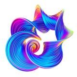 3D abstraem o projeto fluido torcido da forma em cores de néon holográficas na moda ilustração do vetor