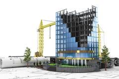 3d abstrait de concept de développement de bâtiment Images libres de droits