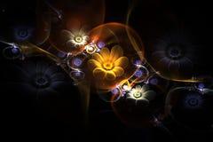3d abstrait fleurit dans une fractale en verre de sphère dans des couleurs jaunes, violettes et blanches Image libre de droits
