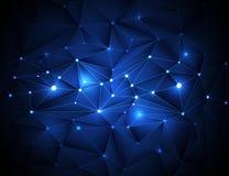 3D abstrait géométrique, polygonal, modèle de triangle en structure de molécule Image stock