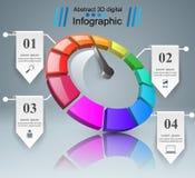 3D abstrait Infographic Tachymètre, icône de flèche illustration stock