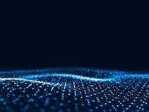 3d abstrait rendant les points et les lignes futuristes structure numérique géométrique de connexion d'ordinateur Intelligence ar Image libre de droits