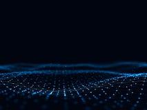 3d abstrait rendant les points et les lignes futuristes structure numérique géométrique de connexion d'ordinateur Intelligence ar Image stock