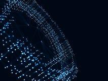 3d abstrait rendant les points et les lignes futuristes structure numérique géométrique de connexion d'ordinateur Intelligence ar Photos stock