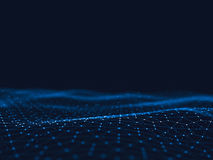 3d abstrait rendant les points et les lignes futuristes structure numérique géométrique de connexion d'ordinateur Plexus avec des Photo libre de droits