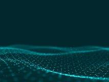 3d abstrait rendant les points et les lignes futuristes structure numérique géométrique de connexion d'ordinateur Plexus avec des Photos stock