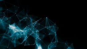 3d abstrait rendant les points et les lignes futuristes structure numérique géométrique de connexion d'ordinateur Plexus avec des Image stock