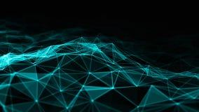 3d abstrait rendant les points et les lignes futuristes structure numérique géométrique de connexion d'ordinateur Plexus avec des Images stock