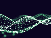 3d abstrait rendant les points et les lignes futuristes structure numérique géométrique de connexion d'ordinateur Plexus avec des Photo stock