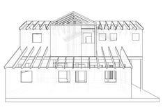 3D abstraits rendent de la structure de wireframe de bâtiment Graphique de construction Illustration de découverte de 3d Photographie stock