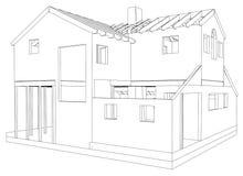 3D abstraits rendent de la structure de wireframe de bâtiment Graphique de construction Illustration de découverte de 3d Images stock