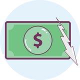 3d abstrakcjonistycznego tła dolarowa ikony ilustracja odizolowywał biel Zdjęcie Stock