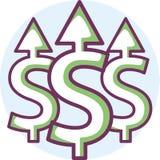 3d abstrakcjonistycznego tła dolarowa ikony ilustracja odizolowywał biel Obrazy Stock