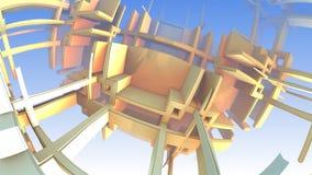 3D Abstrakcjonistyczni kolorowi geometryczni kształty unosi się w przestrzeni Zdjęcia Stock