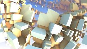 3D Abstrakcjonistyczni kolorowi geometryczni kształty unosi się w przestrzeni Obraz Stock