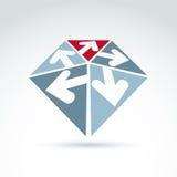 3d abstrakcjonistyczny emblemat z pięć wielokierunkowymi strzała umieszczać w t ilustracja wektor
