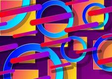 3d abstrakcjonistyczny tło z kolorowymi geometrycznymi kształtami z gradientem i cieniem ilustracja wektor